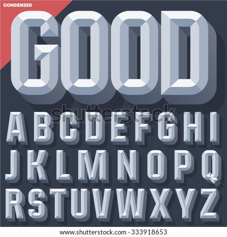Vector 3D grey condense beveled alphabet with shadow. Simple colored version.  - stock vector