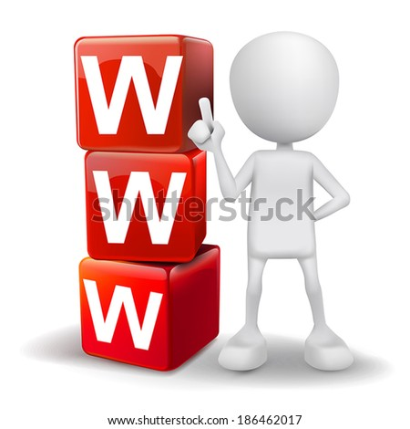 vector 3d human with word WWW World Wide Web cubes on white background - stock vector