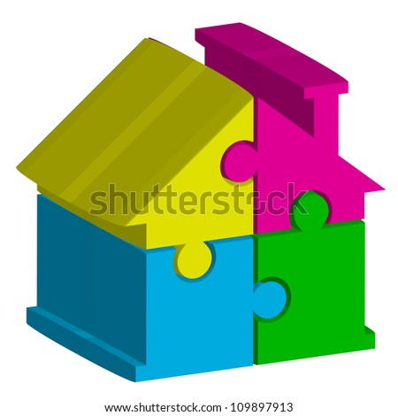 Vector 3d illustration of house from puzzles - stock vector