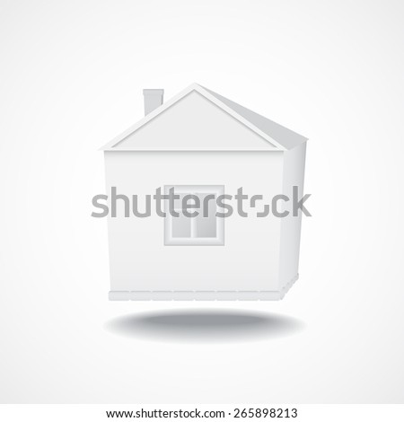 Vector 3d illustration of house model with shadow below - stock vector