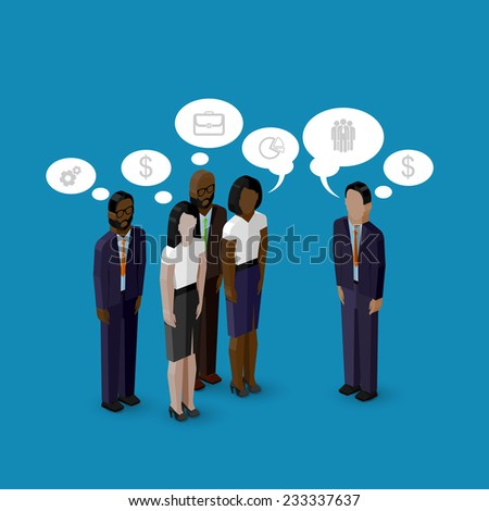vector 3d isometric cartoon illustration of men and women characters. corporate business infographic or advertising template. communication concept - stock vector