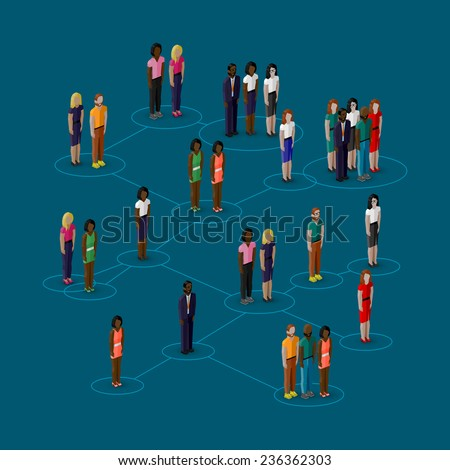 vector 3d isometric illustration of society members with  men and women. population. social network concept - stock vector