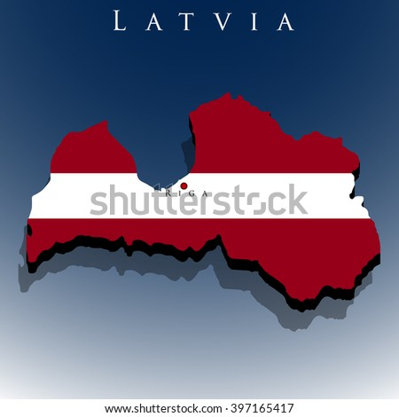 vector 3d Latvia map with a flag on a blue background, EPS 10 - stock vector