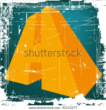 "vector 3d letter ""H"" on GRUNGE background - stock vector"