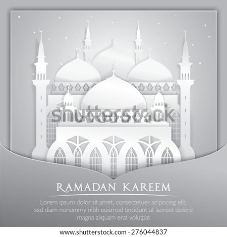Vector 3d mosque muslim Paper Graphic Greeting Card. Translation : Ramadan Kareem - stock vector