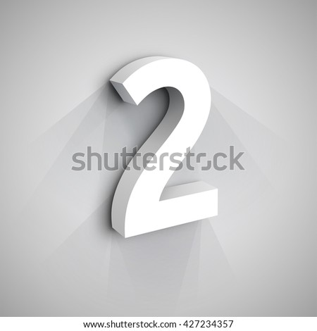 Vector 3d Number Two. White figure 2 on Gray Background - stock vector