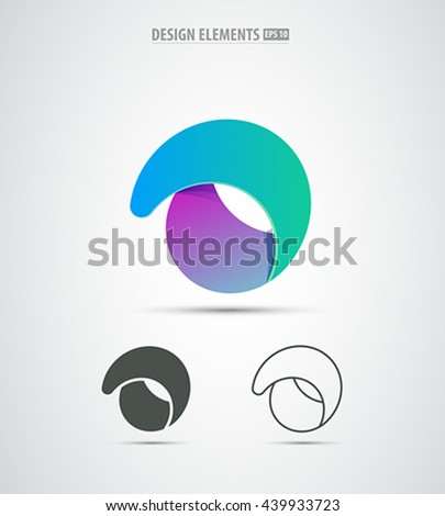 Vector D or O logo design elements. Abstract shapes. Corporate identity elements. Color icons. Clean and simple icon design set. Application icon. Material paper design. - stock vector