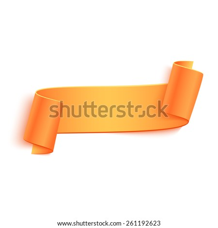 Vector 3d Orange Curved Paper Banner Isolated on White Background. Easy Paste to Any Background - stock vector