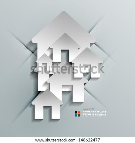 Vector 3d paper house / home modern design - stock vector