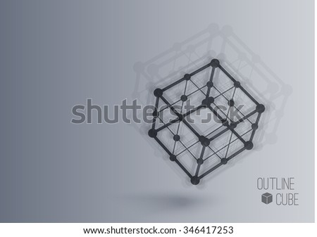 Vector 3d perspective outline blurred cube in motion with realistic shadow . Abstract concept illustration ,template , background ,poster for business or science - stock vector
