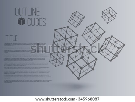 Vector 3d perspective outline  cubes in motion with realistic shadow . Abstract concept illustration ,template , background ,poster for business or science - stock vector