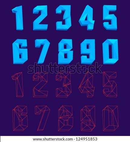 Vector 3D Polygon Numbers - stock vector