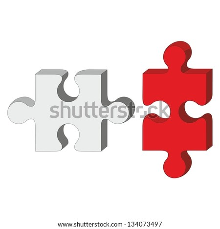 Vector. 3d puzzle red and white 33 - stock vector