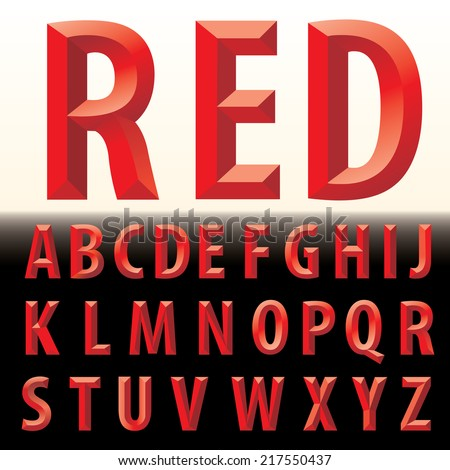 vector 3D red letters - stock vector