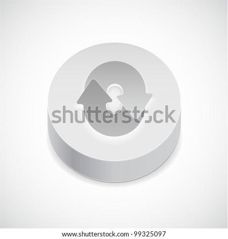 Vector 3d reload button - stock vector