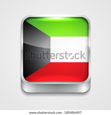 vector 3d style flag icon of kuwait - stock vector