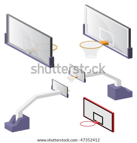 Vector 3D view of realistic basketball backboards  and portable systems - stock vector