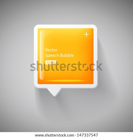 Vector 3d yellow square plastic glossy speech bubble - stock vector