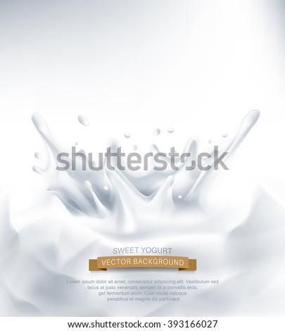 vector. Dairy splash on a grey background - stock vector