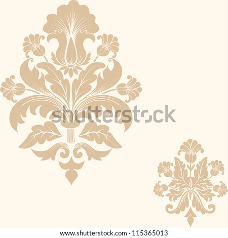 Vector damask pattern element - stock vector