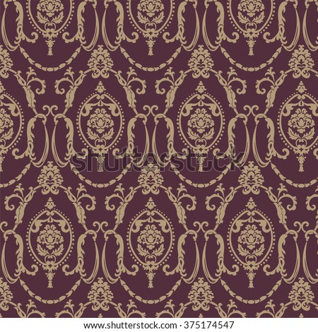 Vector damask pattern ornament.  Elegant luxury texture for textile, fabrics or wallpapers backgrounds. Red color - stock vector