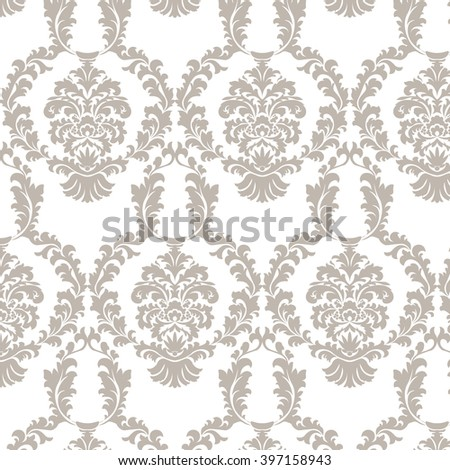 Vector damask pattern ornament. Elegant luxury texture for wallpapers, fabrics or texture backgrounds.  Exquisite floral baroque elements. Taupe color - stock vector