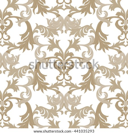 Vector damask pattern ornament. Exquisite Baroque element template. Classical luxury fashioned damask ornament, Royal Victorian texture for wallpapers, textile, wrapping. Almond beige pattern - stock vector