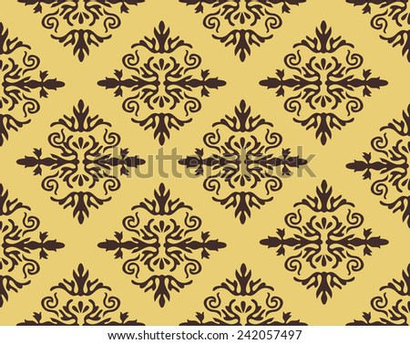 Vector damask seamless pattern background. Elegant luxury texture for wallpapers, backgrounds and page fill - stock vector