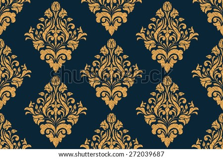 Vector damask seamless pattern background. Grunge style with scratches and dust. Elegant luxury texture for wallpapers, backgrounds and page fill. - stock vector