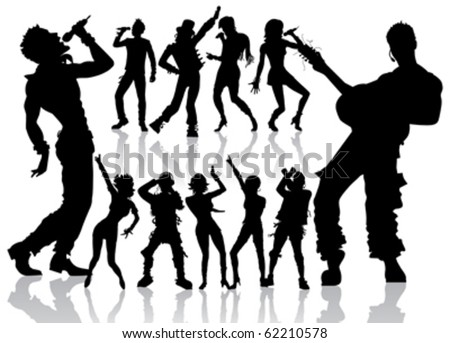 vector dancing and singing peoples silhouette new set - stock vector