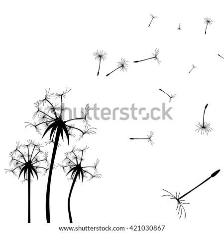 Vector Dandelion silhouette. Flying dandelion buds black on white. Dandelion vector. Dandelion set. Dandelion background. Dandelion illustration. Dandelion silhouette. Dandelion image. Dandelion - stock vector