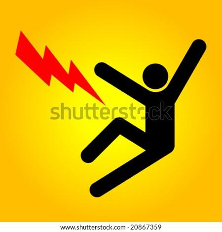 Vector danger sign. High voltage - stock vector