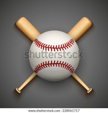 Vector dark background of baseball leather ball and wooden bats. Symbol of sports. - stock vector