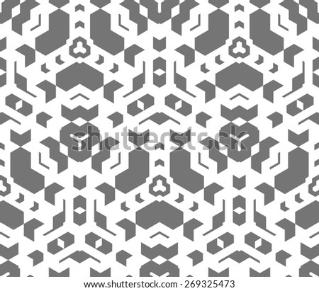vector dark monochrome color abstract geometric seamless pattern white background  - stock vector