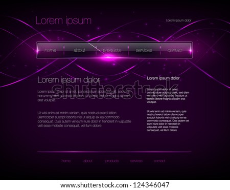 Vector dark purple web site design template with glossy navigation bar and modern glowing background - stock vector