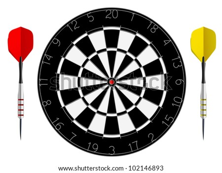 Vector dartboard with two darts isolated on white background - stock vector