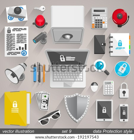 Vector data Protection style. set 9 - stock vector