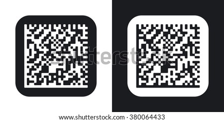 Vector datamatrix icon. Two-tone version on black and white background - stock vector