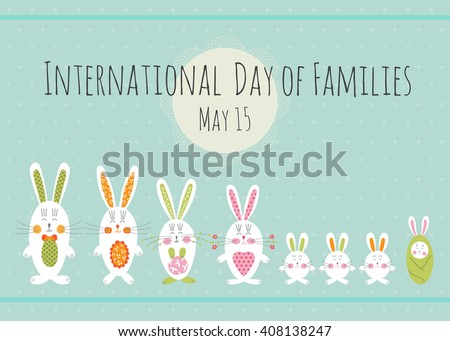 Vector Day of Families card template with cute bunnies. Colorful horizontal banner. For greeting cards, posters, brochures, tags and labels, invitations, scrapbooking, calendars, etc.  - stock vector