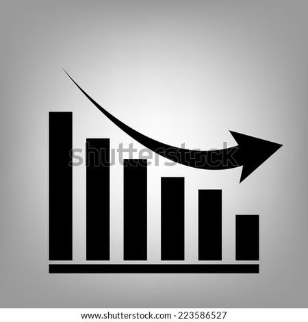 Vector declining graph icon - stock vector