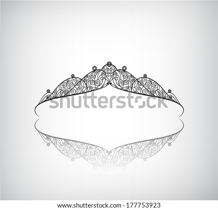 vector decorated crown silhouette icon, logo isolated - stock vector