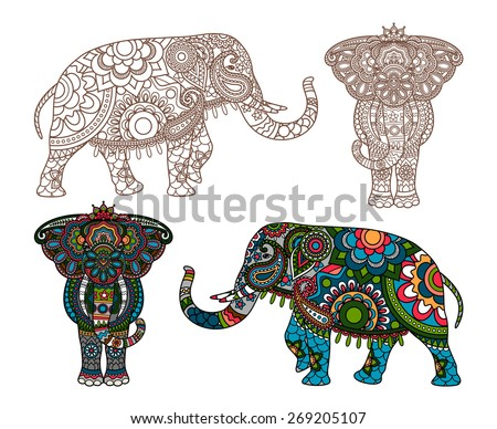 Vector decorated Indian Elephant silhouette and colored - stock vector