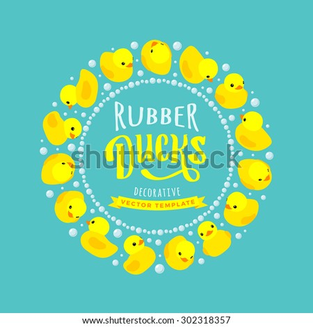 Vector decorating design made of yellow rubber ducks. Colorful card template with copy space - stock vector