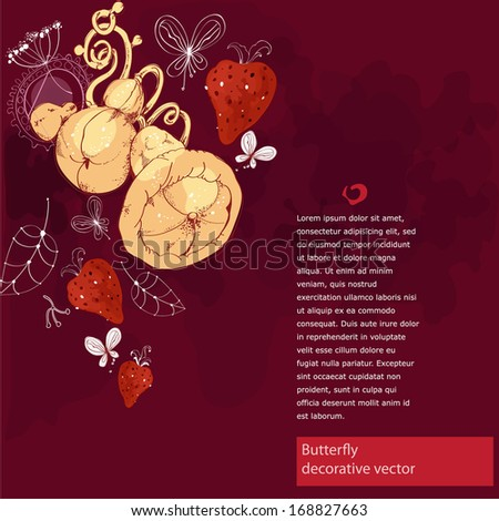 Vector decorative background with pears in art nouveau style - stock vector
