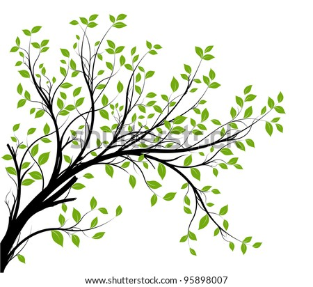 vector - decorative branch silhouette and green leaves, white background - stock vector