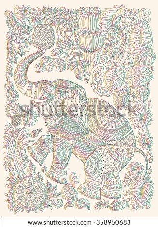 Vector decorative fantasy stylized ornate elephant silhouette. Zen tangle fantastic flowers, butterfly, leaves. Rainbow contour thin line ornaments on a beige background. T-shirt print. Batik paint - stock vector