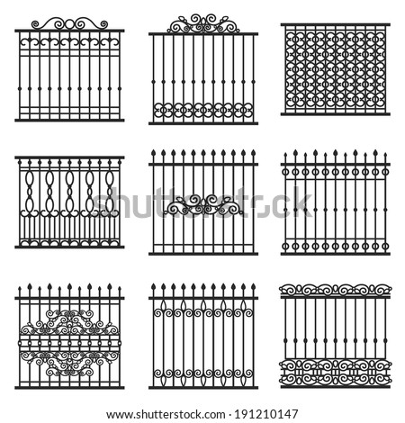 vector decorative fences set - stock vector