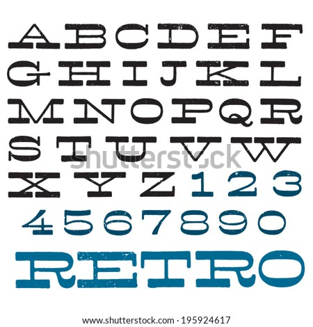 Vector decorative font. Vintage retro type. Upper case letters and digits. See my portfolio for lower case letters! - stock vector