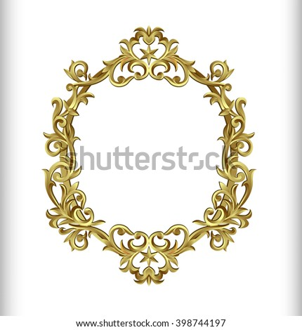 Vector decorative frame in Victorian style. Elegant element for design, place for text. Golden floral border. Lace decor for wedding invitations, valentines, birthday and greeting cards. - stock vector