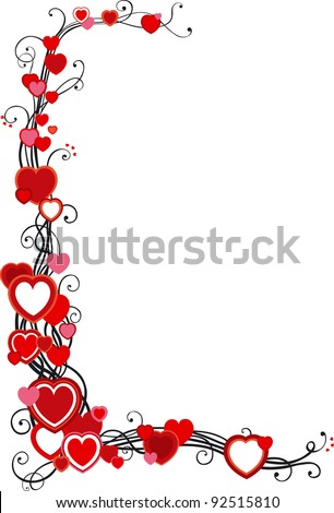 Vector decorative frame with hearts  on white background - stock vector